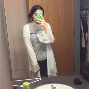 White lace trim cardigan/kimono